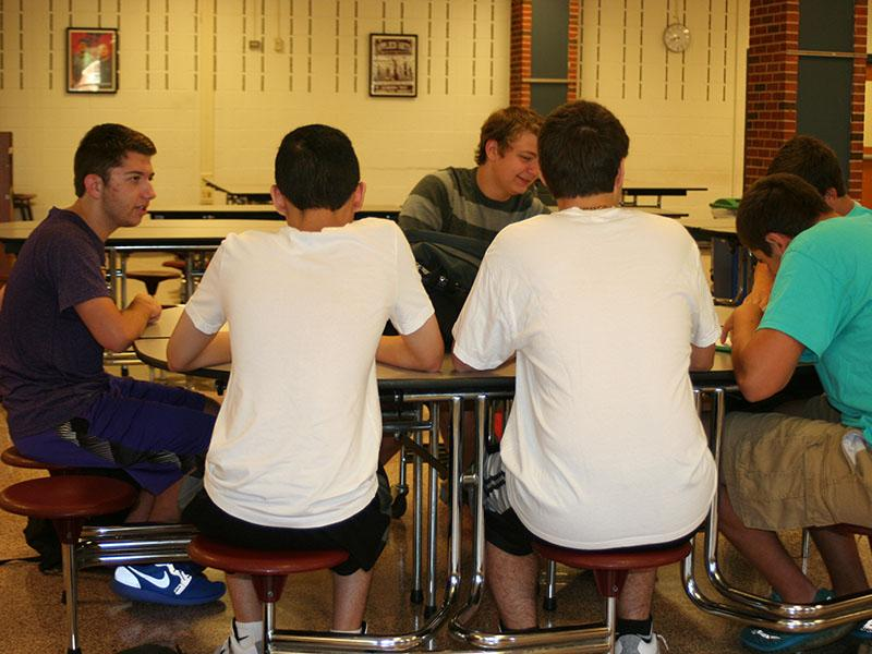 Students dress in matching outfits for twin day.