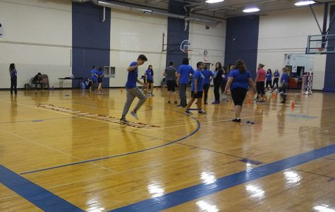 Students exercising in the East Gym
