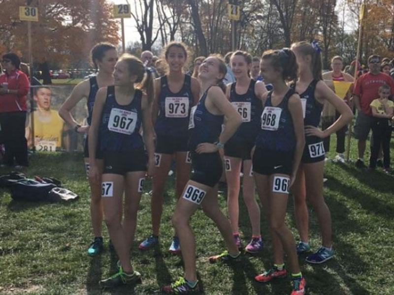The RBHS girls cross country team at the state competition.