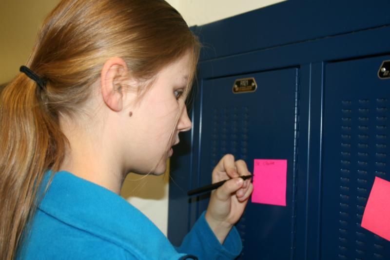 An RBHS student spread messages of pride and positivity on the lockers.