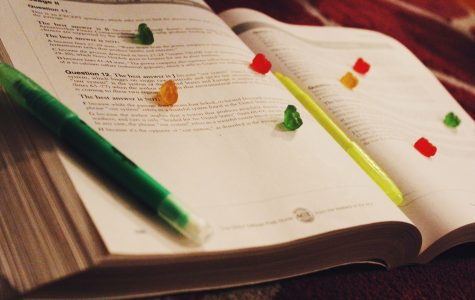 Gummy bears placed on textbook