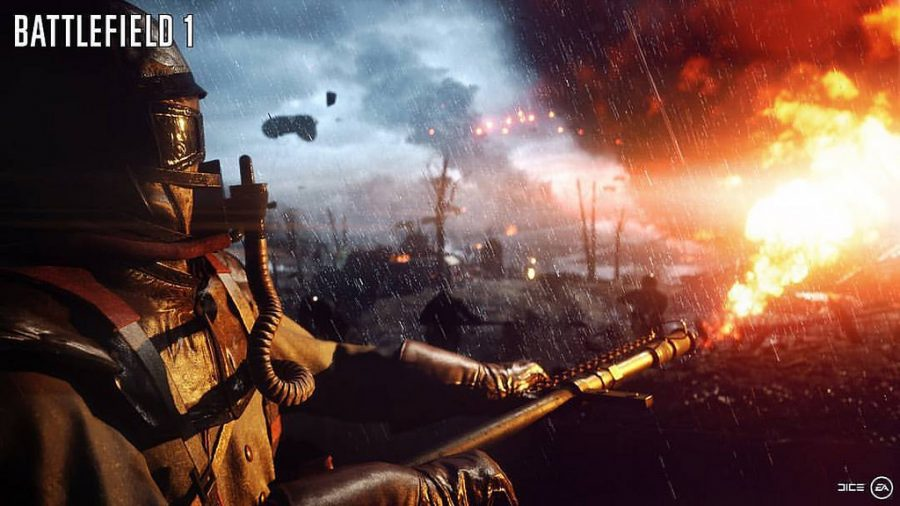 A soldier from Battlefield 1 using a flamethrower in game