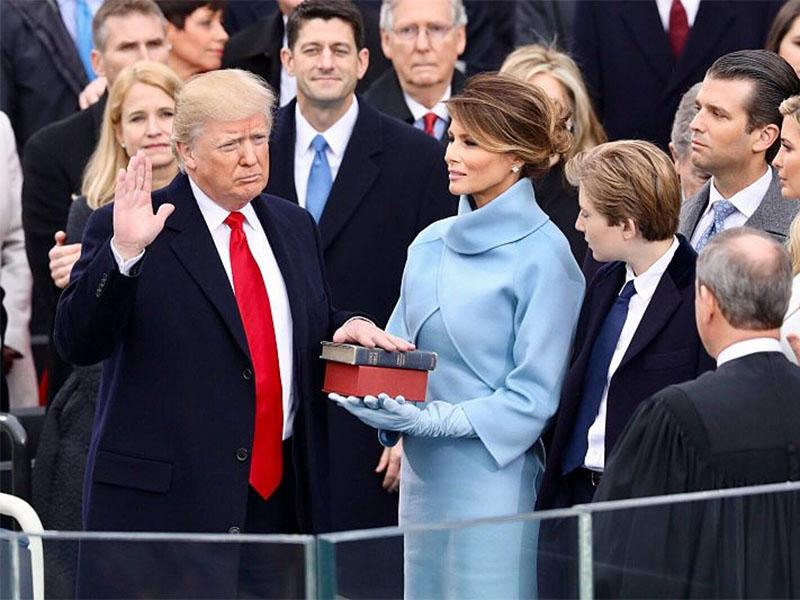 Donald Trump at the inauguration.