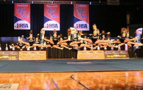 RB Cheer team competing at IHSA state finals.