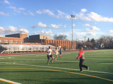 Lacrosse team practicing on RB field