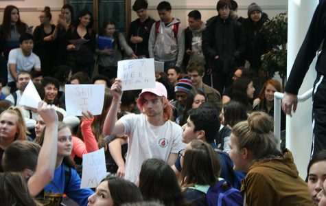 Students protesting teacher termination meet with administration