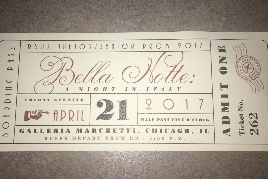 Prom ticket for the 2017 prom.