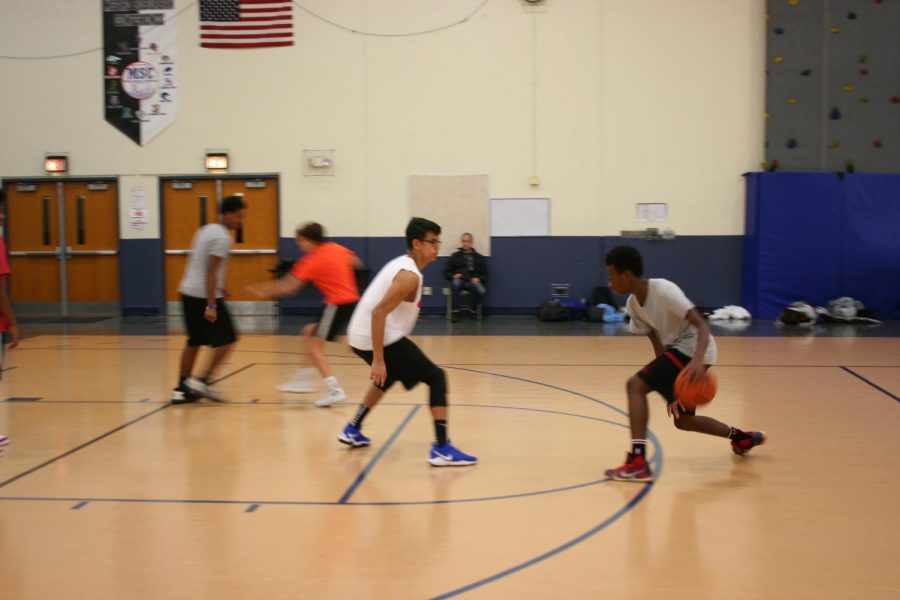 Boys practice during open gyms.