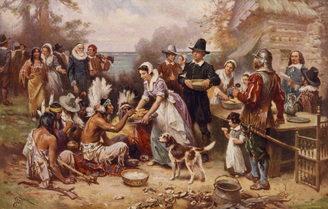 %22The+first+Thanksgiving%22+depicted+in+an+1899+painting+by+Jean+Leon+Gerome+Ferris.