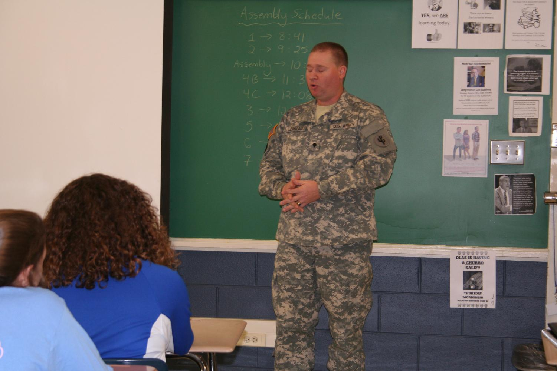 Veteran Jason Lemaku speaks to RBHS students.