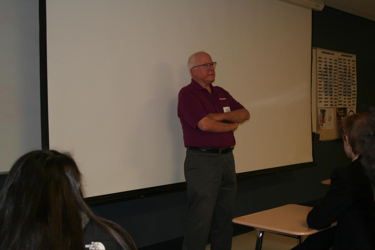 Veteran Richard Korzyniewski speaks to students during the RBHS Veteran's Day classroom visits.