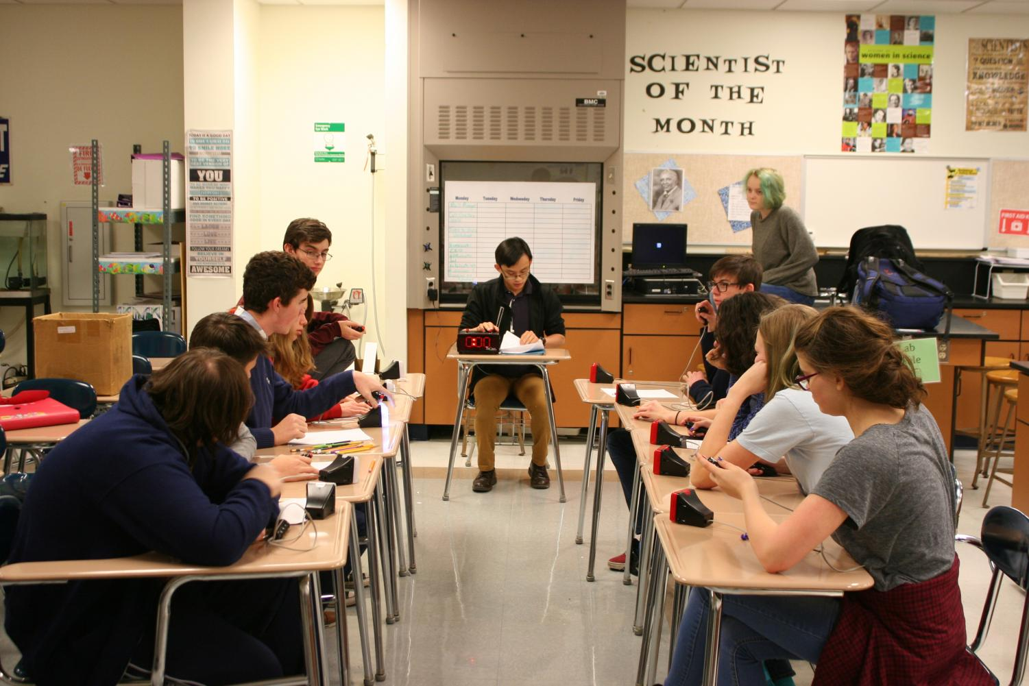 Scholastic Bowl practicing after school