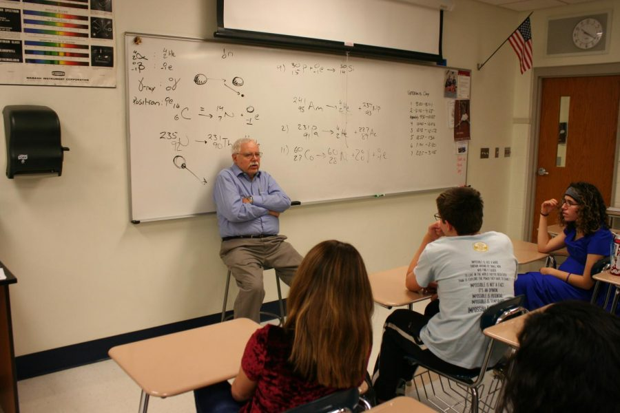 Grabowski speaks to students in Melquist's room.