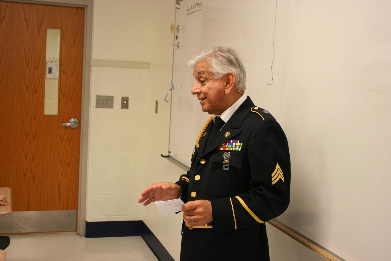 Thomas Vargas speaks to students.