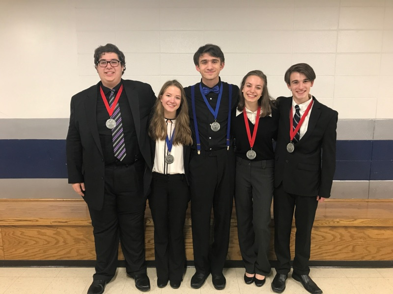 (Left to right) Taner Guzeldereli, Cameron Winkler, Johnathan Wells, Casey Whisler, and Noah Morriss at the Cary-Grove Winter Speech Invitational.