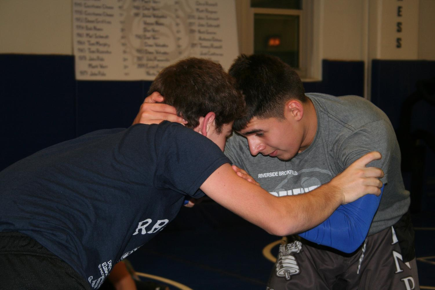 Wrestlers at practice