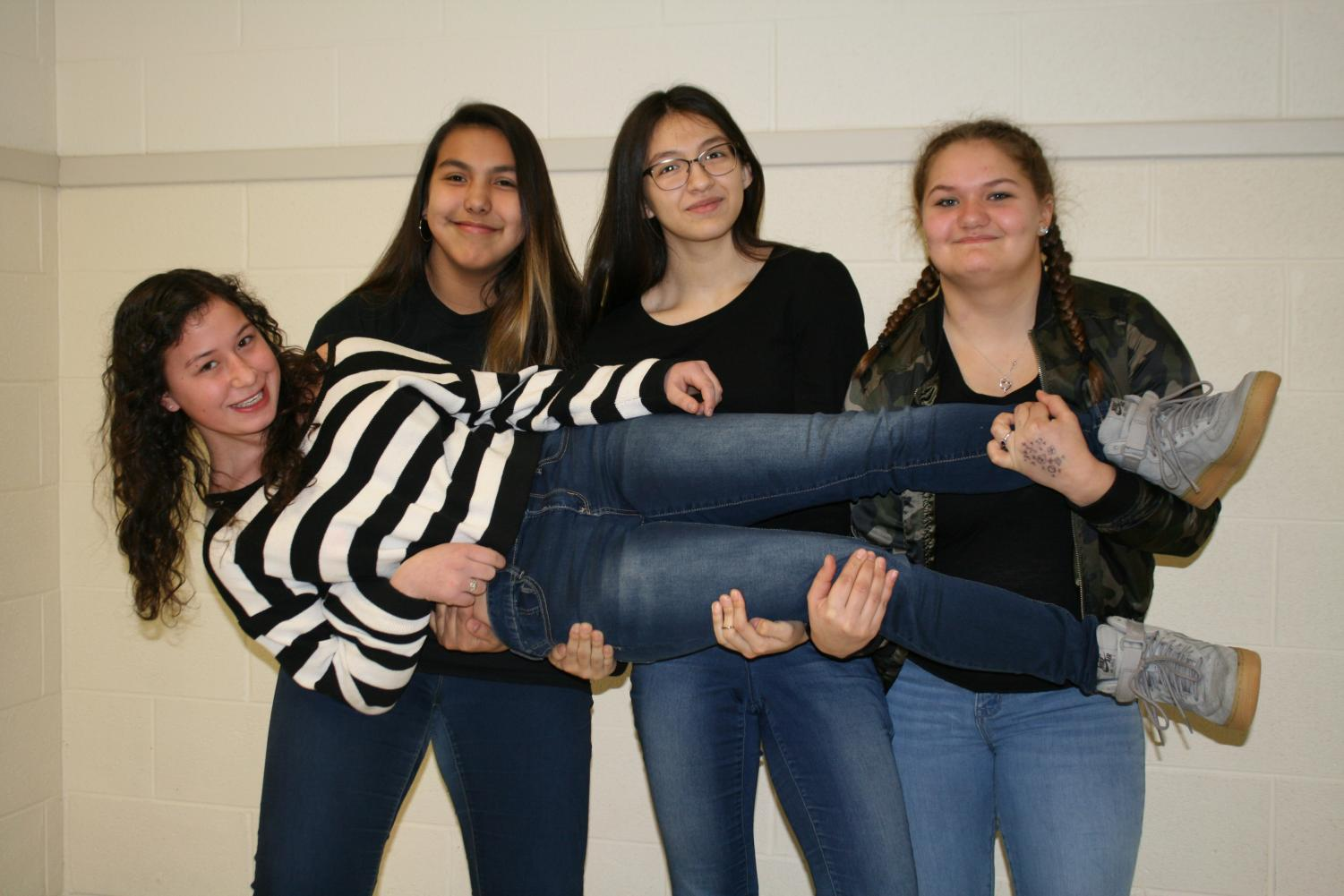 RB wrestlers from (l. to r. standing) Leila Garcia, Daniela Quiroga, Lauren Aprim. Anna O'Keefe (Being lift)