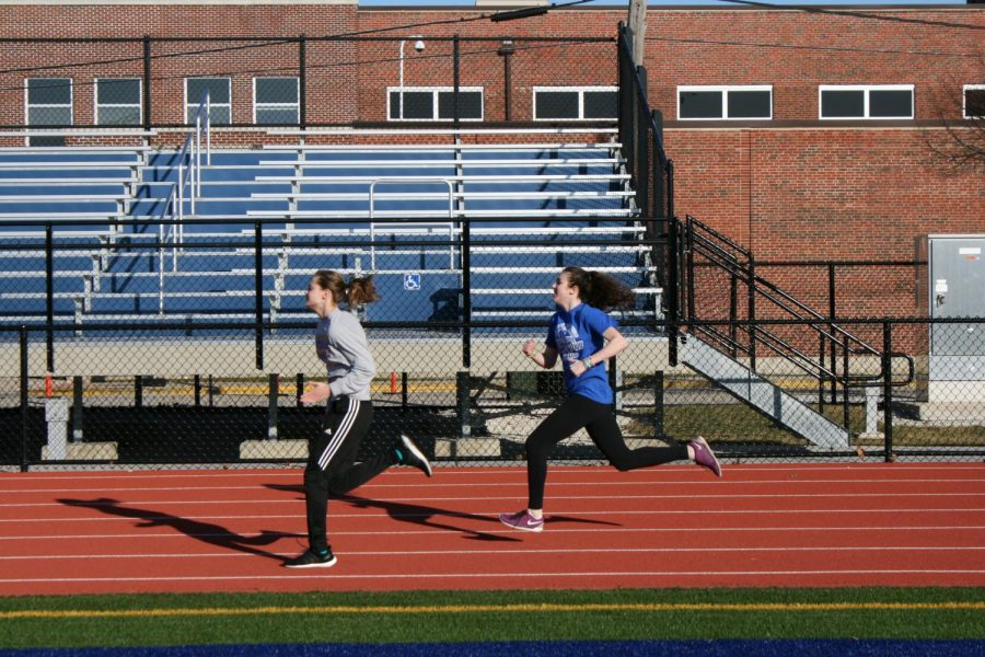 Girls running at the RB track.