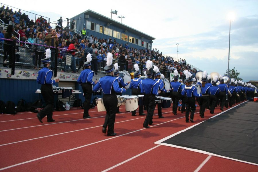 RB band marches at football's Senior Night.