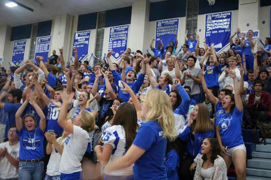 Students cheer during class competitions at the fall sports pep rally.
