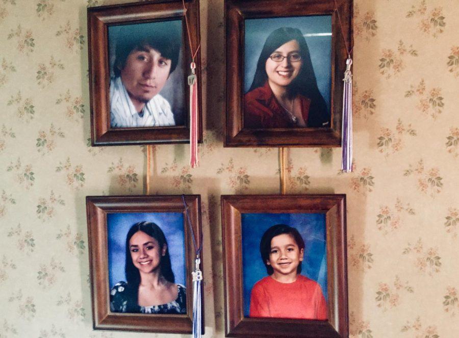 Portraits of my siblings. Daniel's senior portrait from 2007, Evangeline's senior portrait from 2015, my senior portrait from 2018, and Angelo's elementary school picture.