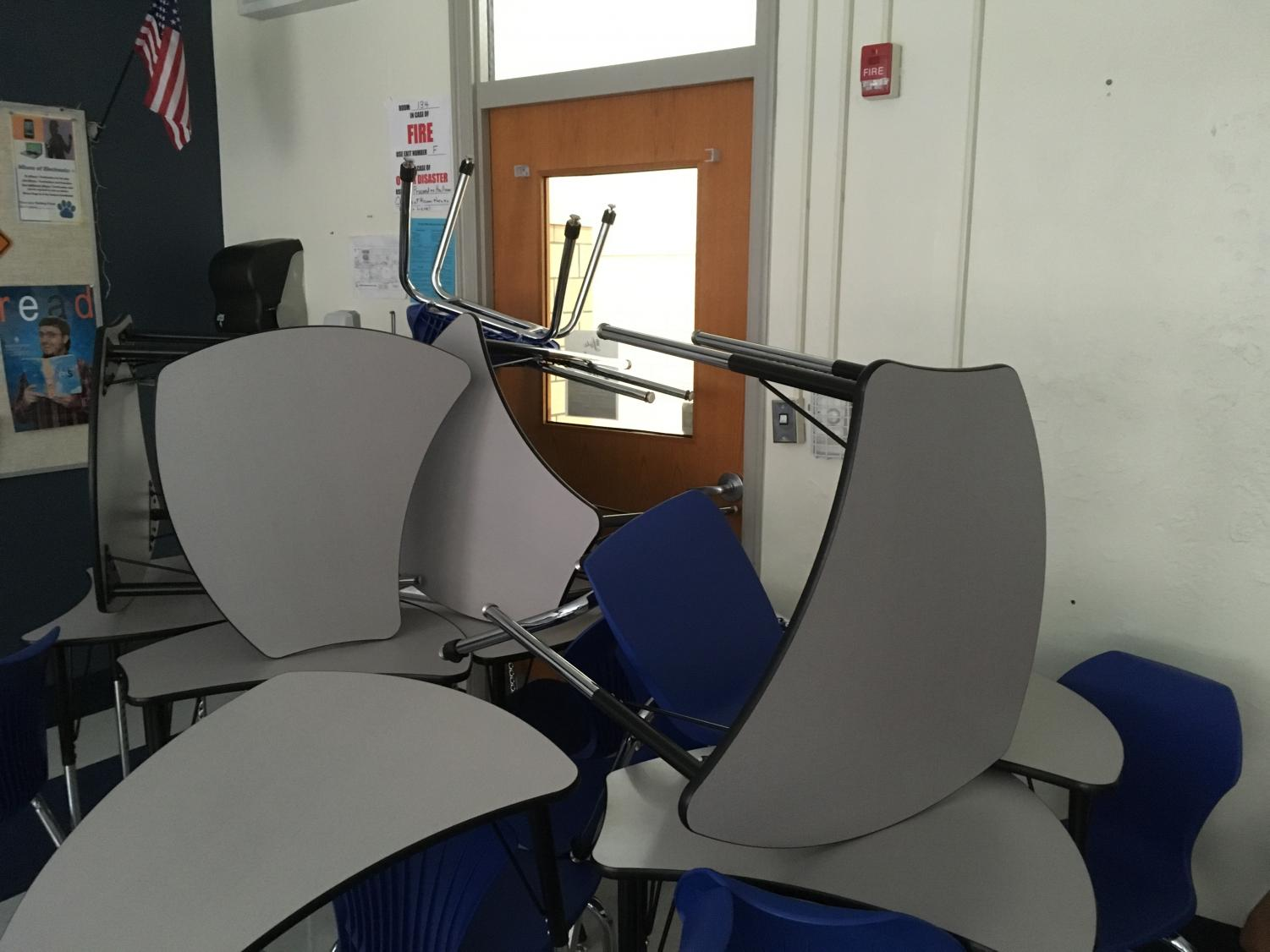 Chairs barricade the door during a lockdown drill. Photo by Clarion staff