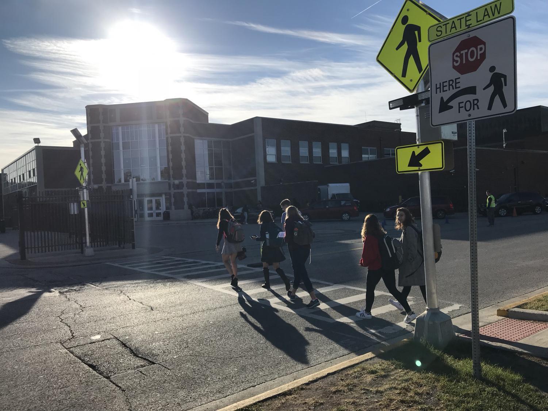 RB Students using new crosswalk.