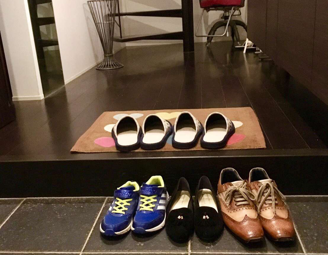 Shoes at the entrance of Rinos home in Japan.