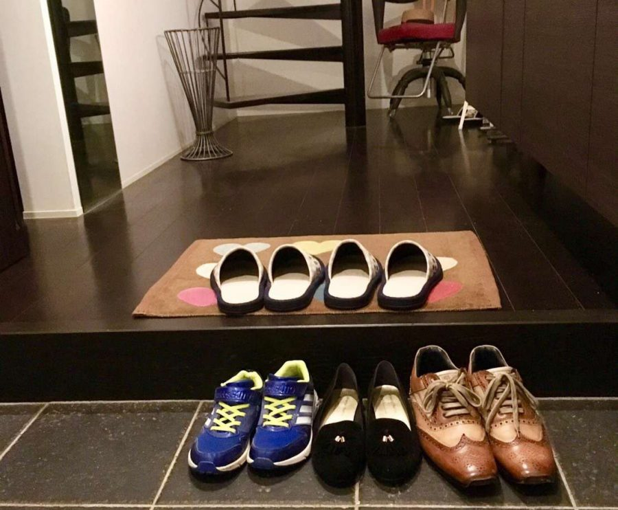 Shoes in Rinos home in Japan.