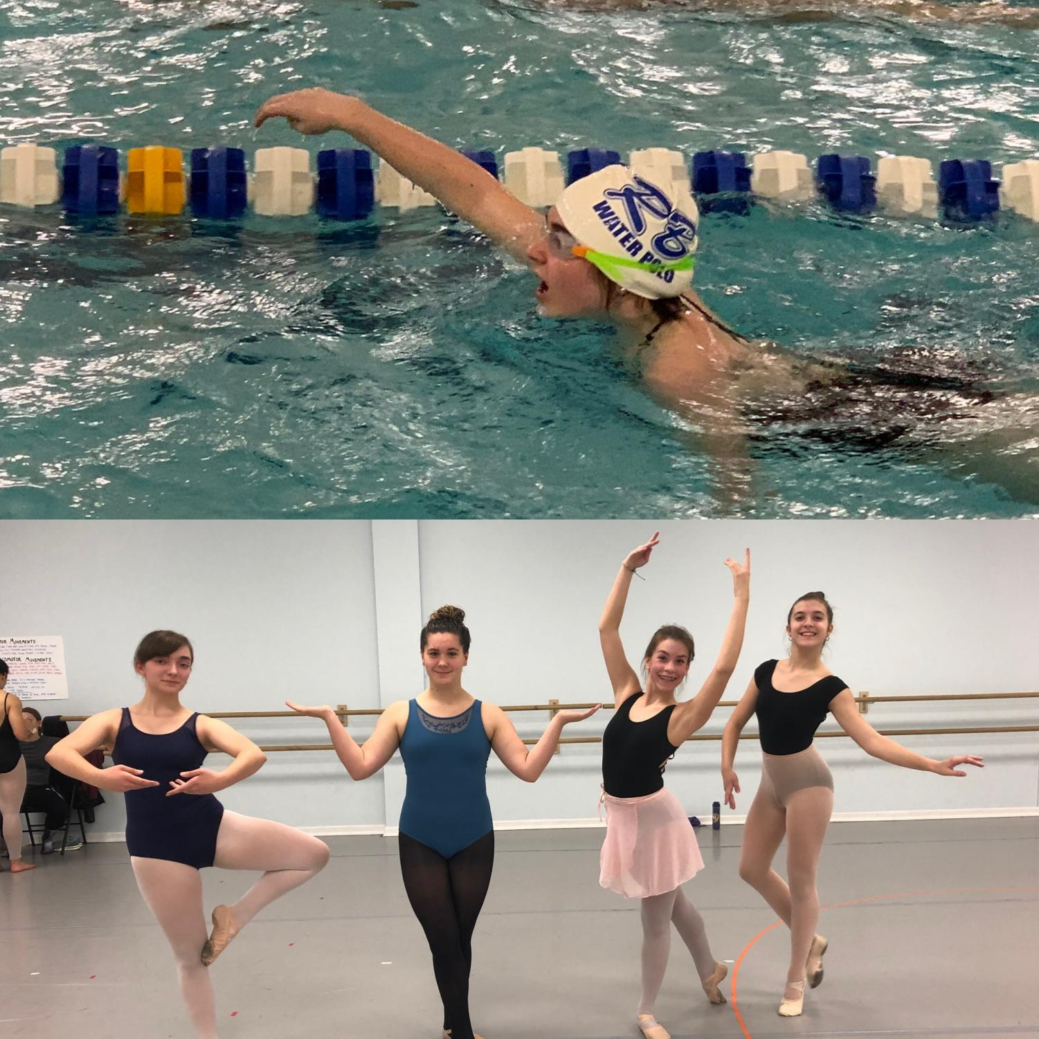 (Top) Bella Brick shows off her poor swimming technique during practice. (Bottom) Sarah Strubbe is extremely confused by ballet terminology. Photos by Mike Laurich and Bella Brick.