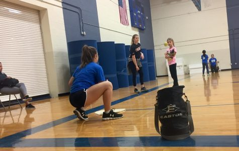 Shelby Turnier coaching at the softball clinic