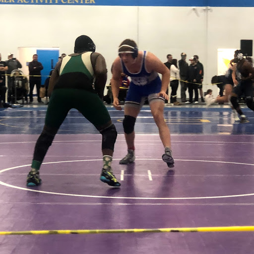 Dominick Rowe during a wrestling match.