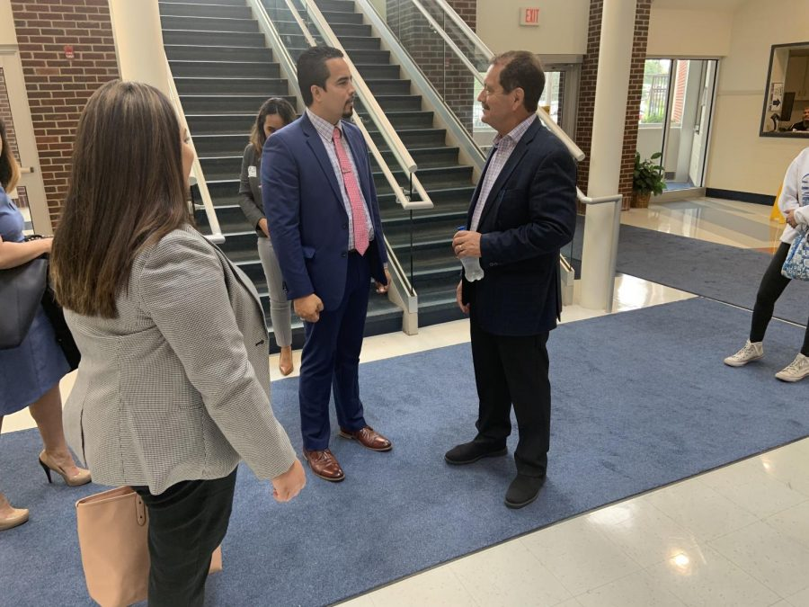 Congressman García speaks with RB Principal, Dr. Hector Freytas in the atrium.