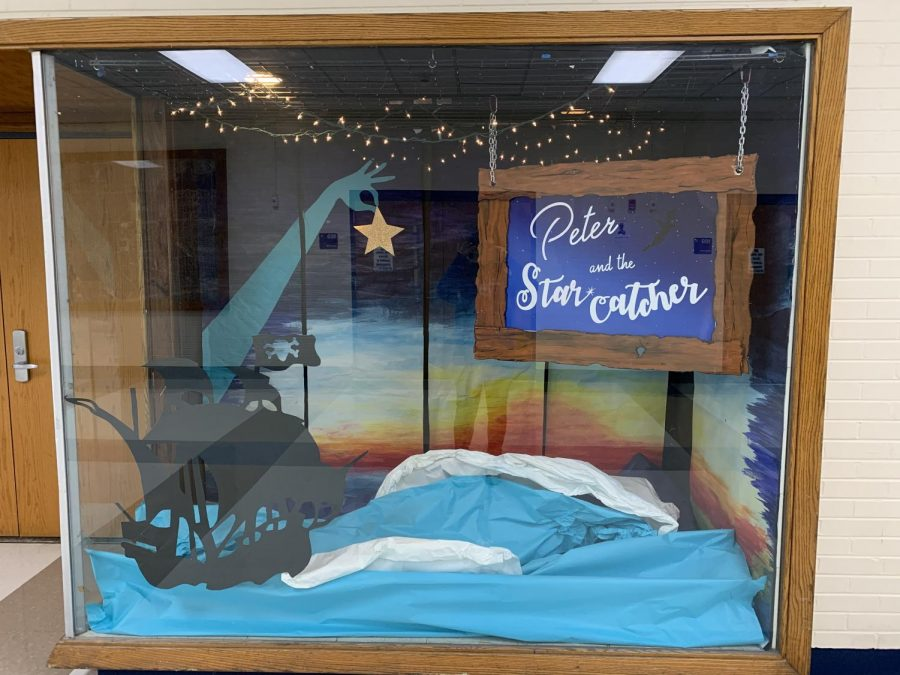 The display for Peter and the Starcatcher next to the RB Alumni Lounge