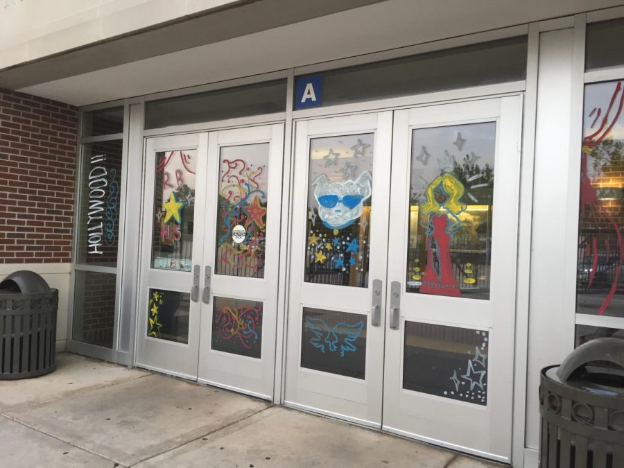 The school entrance, decorated in the Hollywood theme for Homecoming.