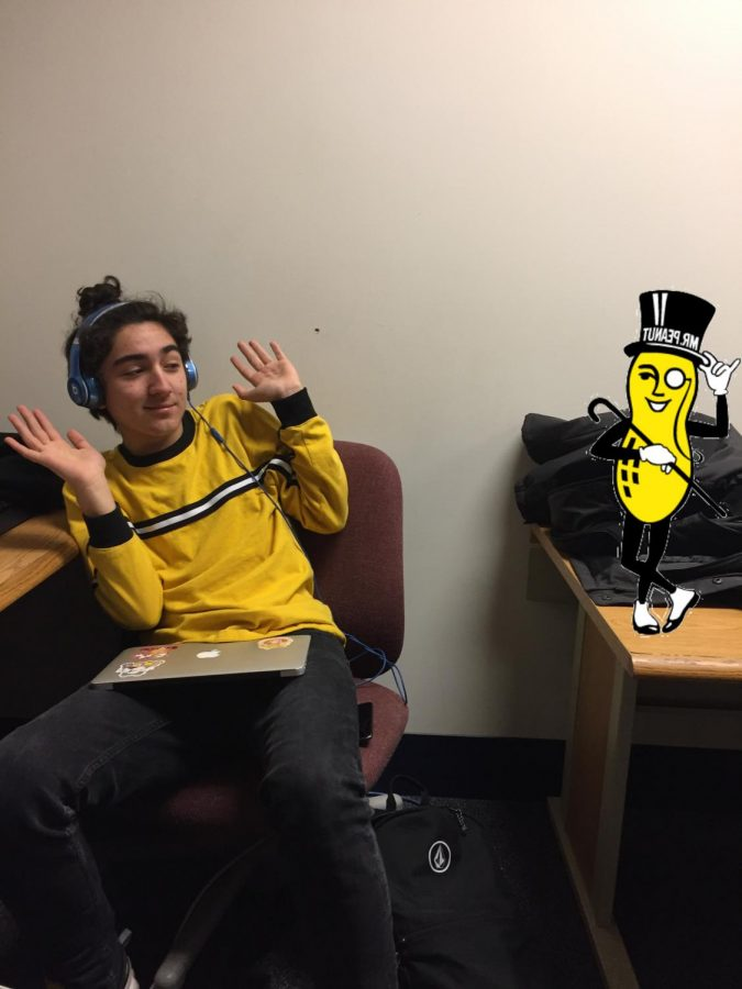 Bartholomew Richard Fitzgerald-Smythe (Mr. Peanut) and staff reporter Jacob Rogoz matching.