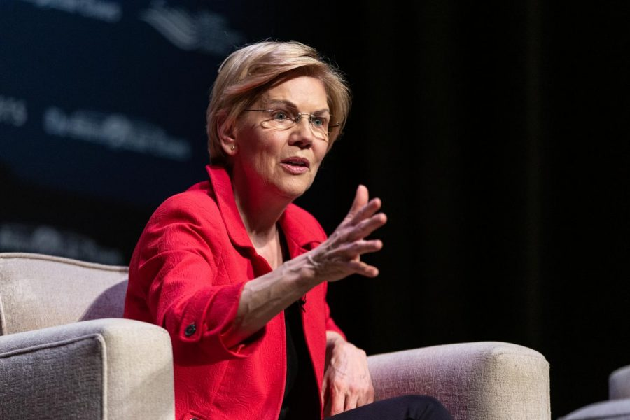 Democratic presidential candidate Elizabeth Warren speaks at the Heartland Forum in Iowa