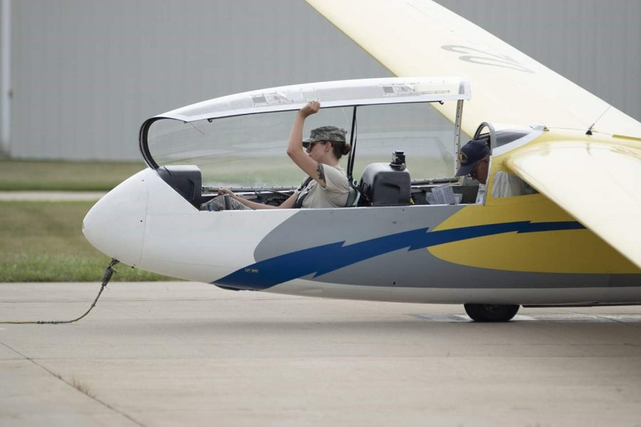 Alexis Vasiliadis, an RBHS senior,  prepares for flight with Civil Air Patrol (CAP)