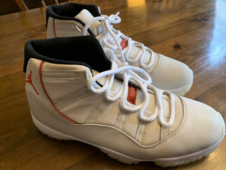 This is a pair of Nike AirJordan 11 Platinum Tints.