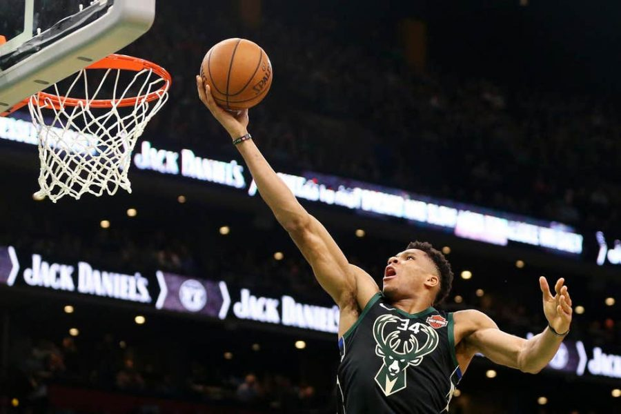 Giannis Antetokounmpo goes up for a layup.