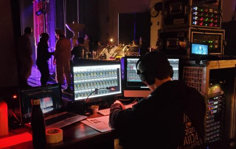 Peter Giannetos working on the All State production of Aida