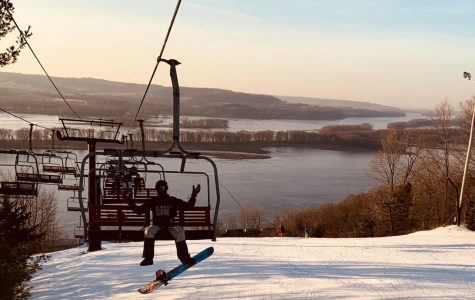 Student enjoys a ride on the ski lift on January 20 at Devil's Head Resort in Wisconsin.