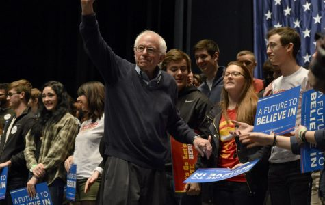 New Hampshire primary winner, Bernie Sanders is pictured greeting his supporters.
