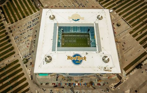 Photo of Hard Rock Stadium in Miami, the host of Super Bowl LIV. Photo courtesy of Wikimedia Commons.