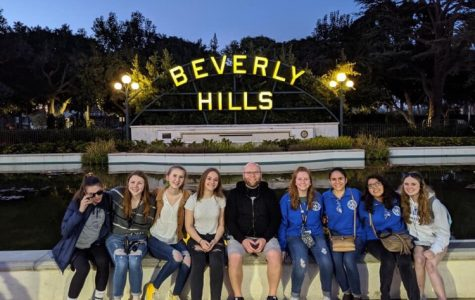 RBHS band students pose for a picture in Beverly Hills, California. Photo courtesy of RBHS Music Department Sponsors.
