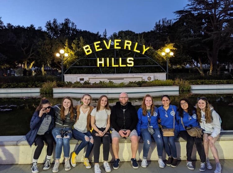 RBHS+band+students+pose+for+a+picture+in+Beverly+Hills%2C+California.+Photo+courtesy+of+RBHS+Music+Department+Sponsors.