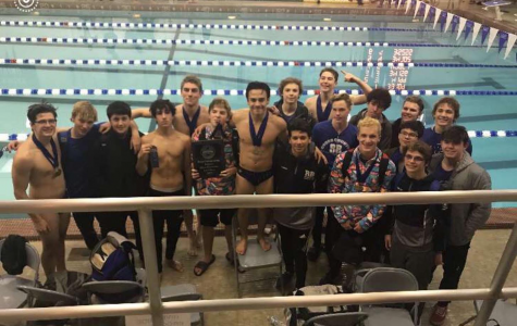 This is the entire boys' swim team after a meet.