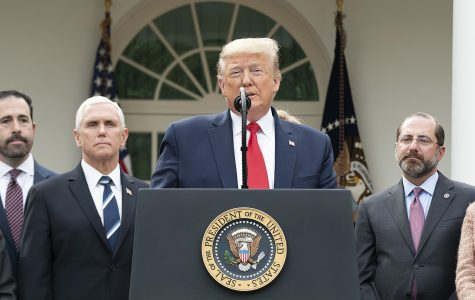 President Trump standing at the podium discussing matters related to the coronavirus and his administration standing behind him.