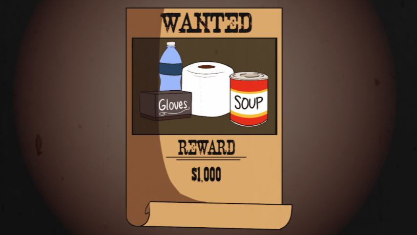 A comedic wanted sign drawing that pokes fun at some of the items people are scrambling to buy at this time.