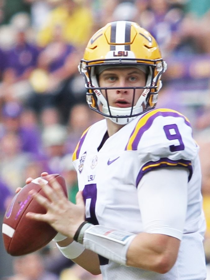 Joe Burrow, the presumptive first overall pick, steps back for a pass. Photo taken from Wikimedia Commons.